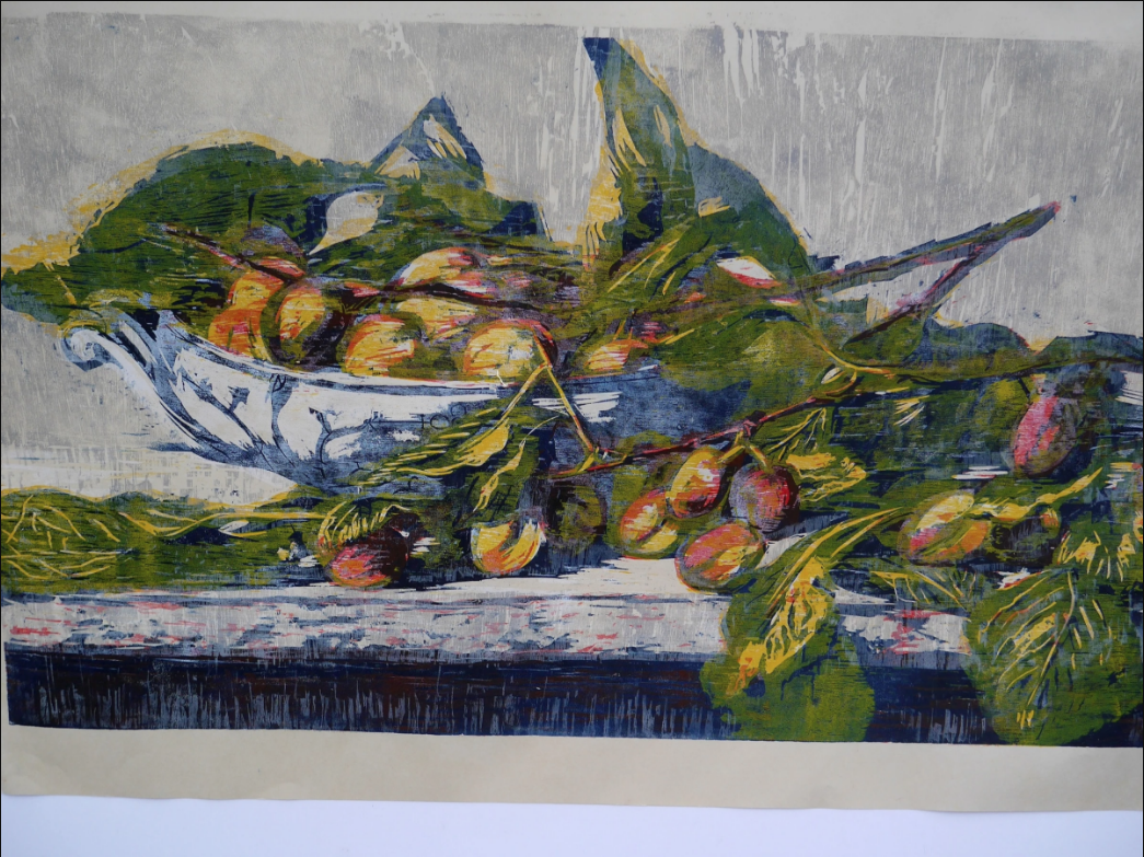 Hilary Daltry RE, September Fruits On Copenhagen Dish , woodcut, 77 x 116cm, 12/50, exhibitions on at the end of May