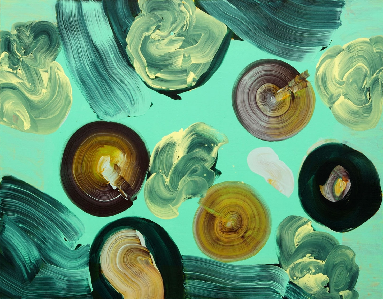 Sharon Drew, Spin 2017, 105 x 135cm acrylic on canvas