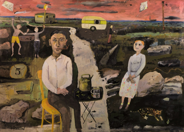 Simon Quadrat, The Contented Couple, oil on canvas, 73 x 100 cm, art exhibitions to see in June