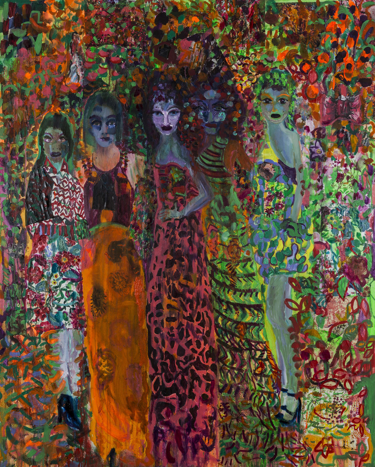 Vanessa Mitter, The Beautiful People, oil, acrylic and collage on canvas, 150cm x 120cm