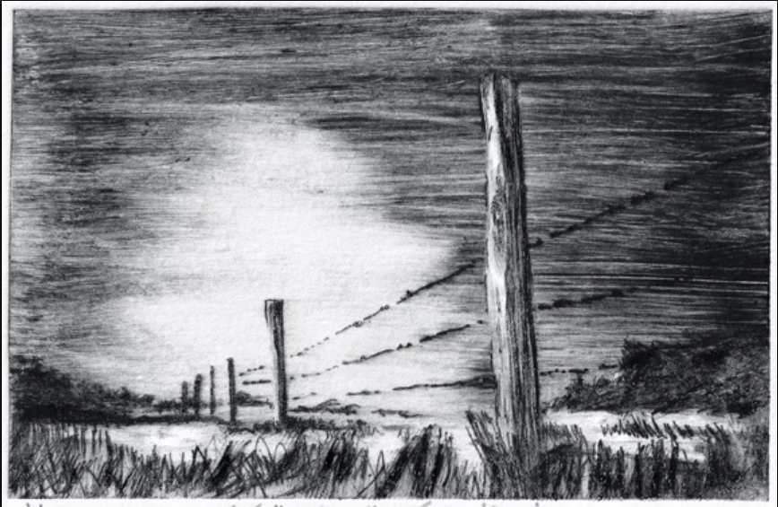 Tricia Johnson, Following the Fenceline, Edition of 12, etching on somerset 240gsm, unmounted, print size 16 x 11cm.
