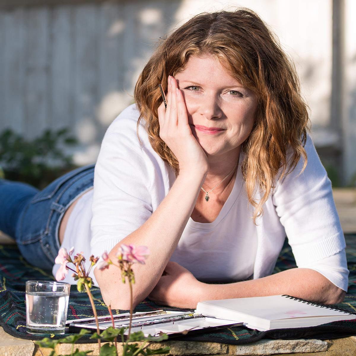 Anna Mason, in the garden painting