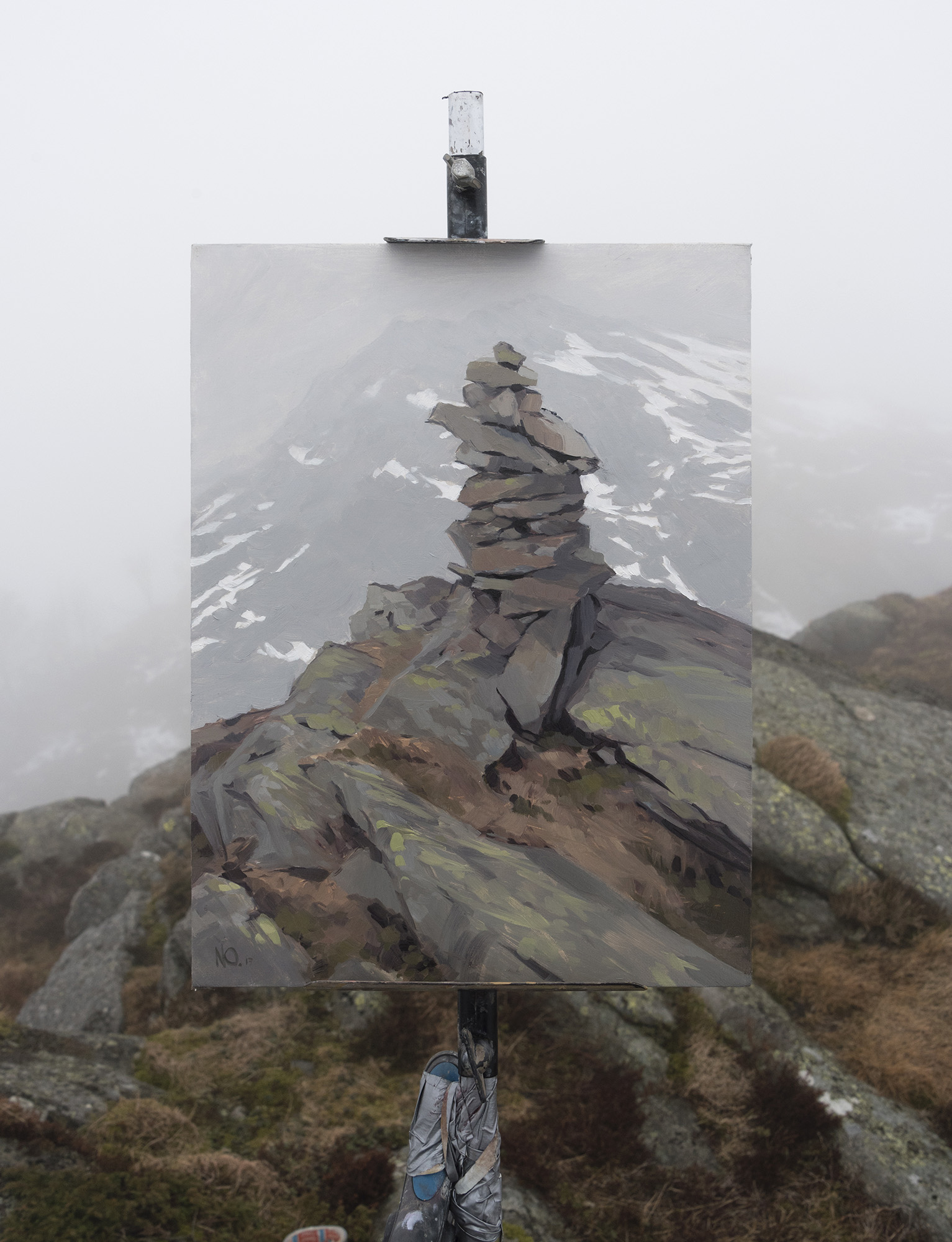 Cairn Fog, Blåmannen, oil on canvas, 40 x 30cm, 2017