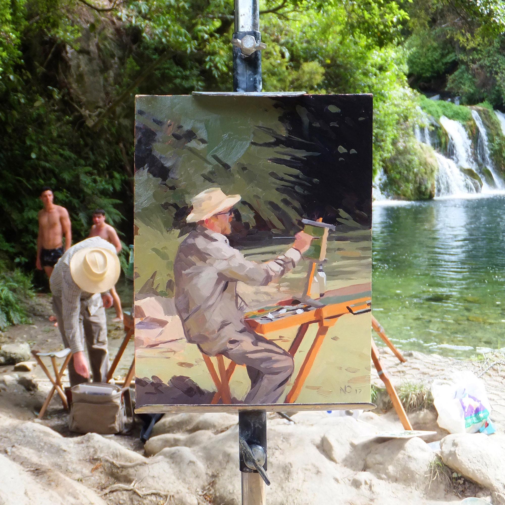 Maraetotara Falls, oil on canvas, 24 x 30 cm, 2017
