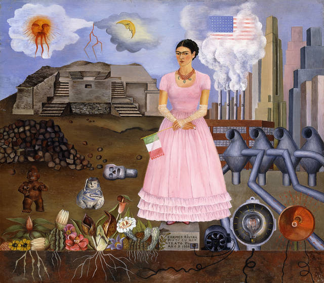 Self-portrait on the Border between Mexico and the United States of America, Frida Kahlo, 1932. © Modern Art International Foundation, Courtesy María and Manuel Reyero, art exhibitions to see in July