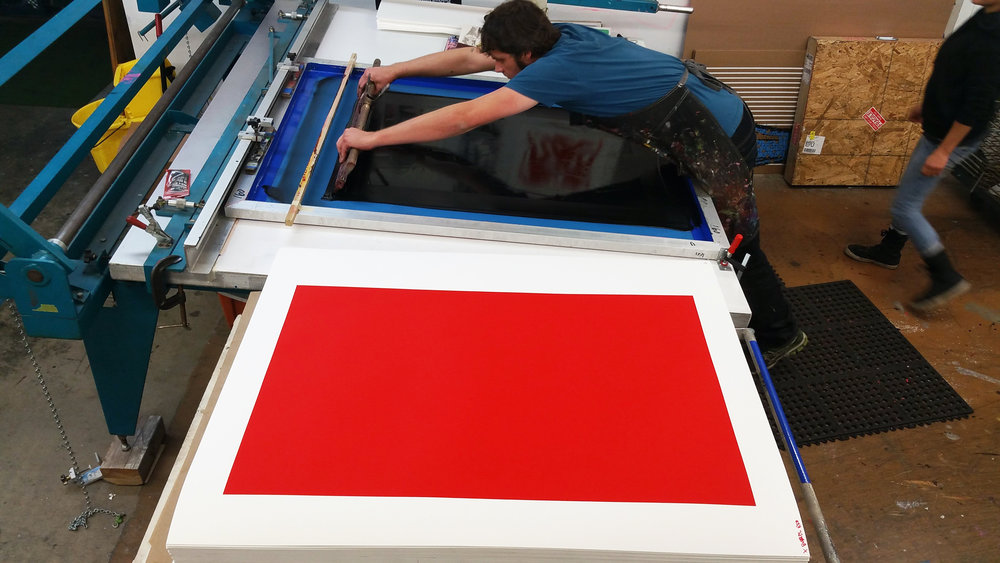 Master Printer & Owner of Serio Press, Tony Clough, working on a Cleon Peterson print