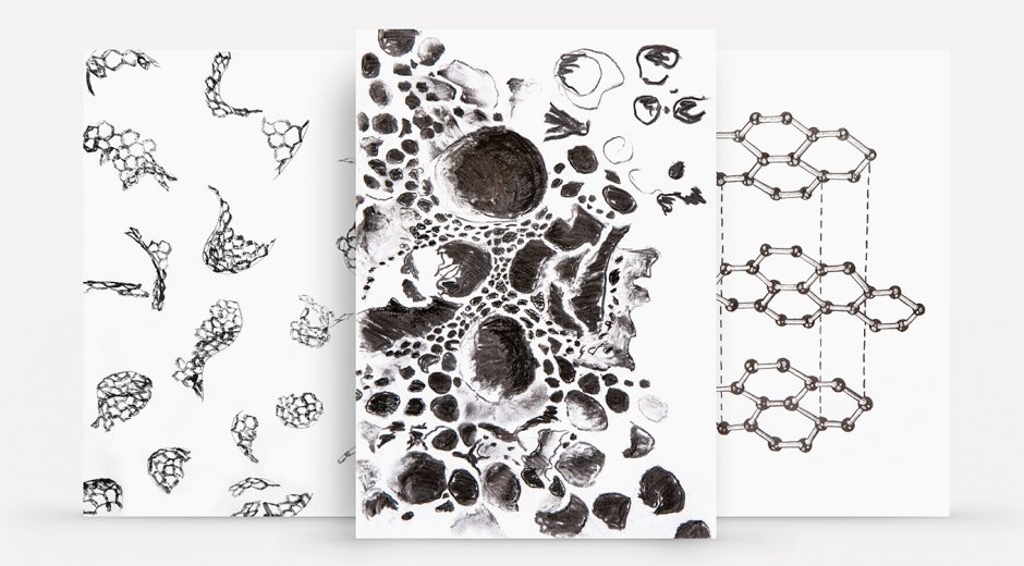 Left to right: charcoal's structure made using wet charcoal powder, charcoal's structure made with a variety of charcoal products, graphite's structure made with graphite pencils.