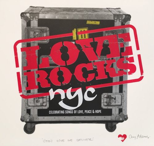 """Love Rocks,"" Cey Adams, 2017. An edition of 100 produced exclusively for God's Love We Deliver, NYC"
