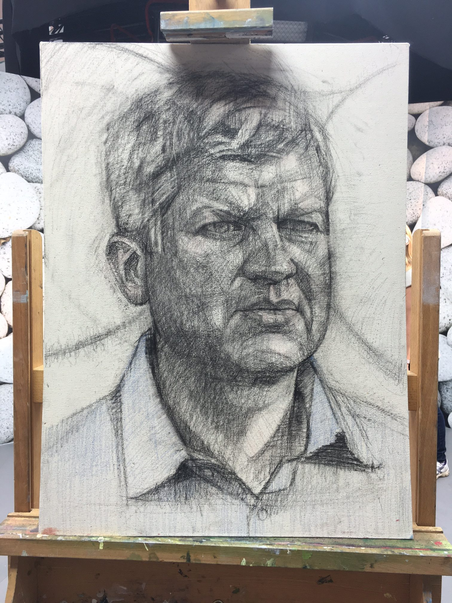 Gareth Reid's Portrait of TV Presenter Adrian Chiles, from the first heat of Sky Arts Portrait Artist of the Year 2017 (Nitram Charcoal and Pastel on Canvas)