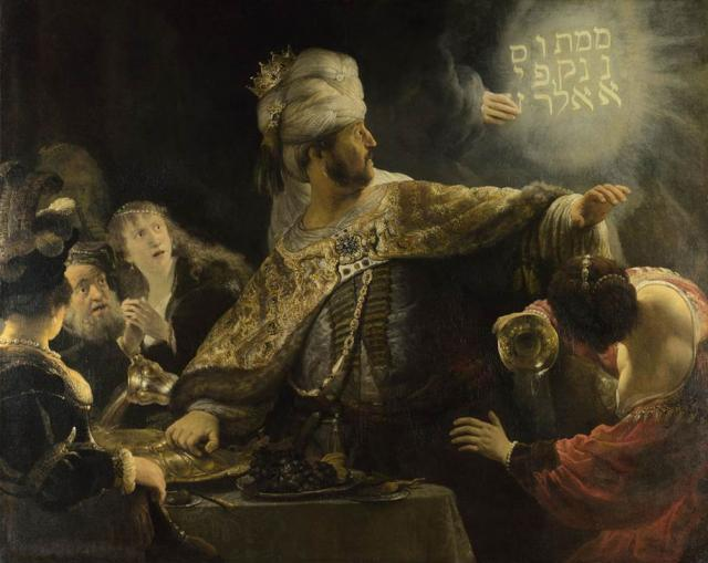 Belshazzar's Feast, c.1635, Rembrandt (Rembrandt Harmensz van Rijn), National Gallery, London. Bought with a contribution from The Art Fund, 1964, art exhibitions on in September
