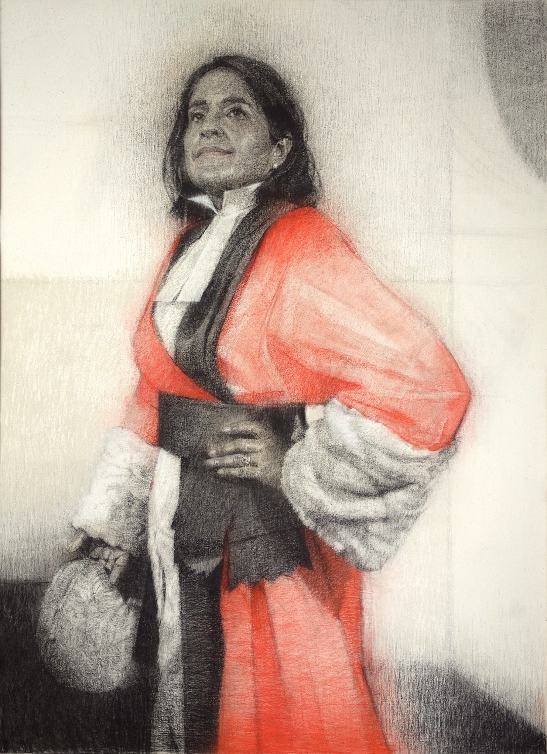 The Hon Mrs Justice Cheema-Grubb Gareth Reid Charcoal and Pastel on Canvas, 100x80cm, 2016 (Commission undertaken as part of the final for Sky Arts Portrait Artist of The Year 2017)