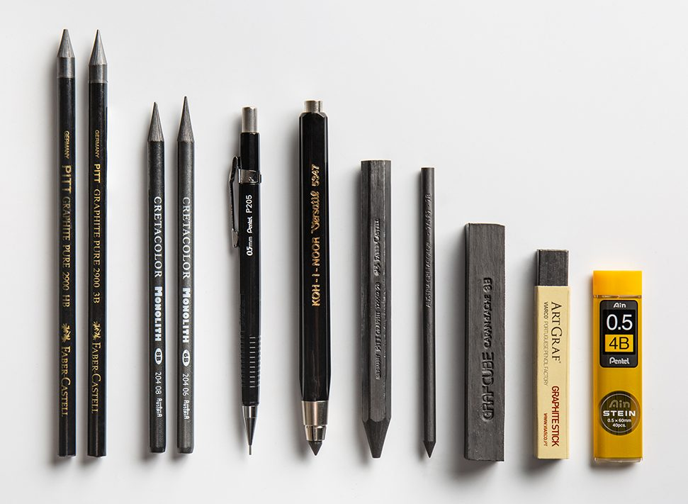 Several graphite holders, graphite blocks, leads and sticks, difference between graphite and charcoal