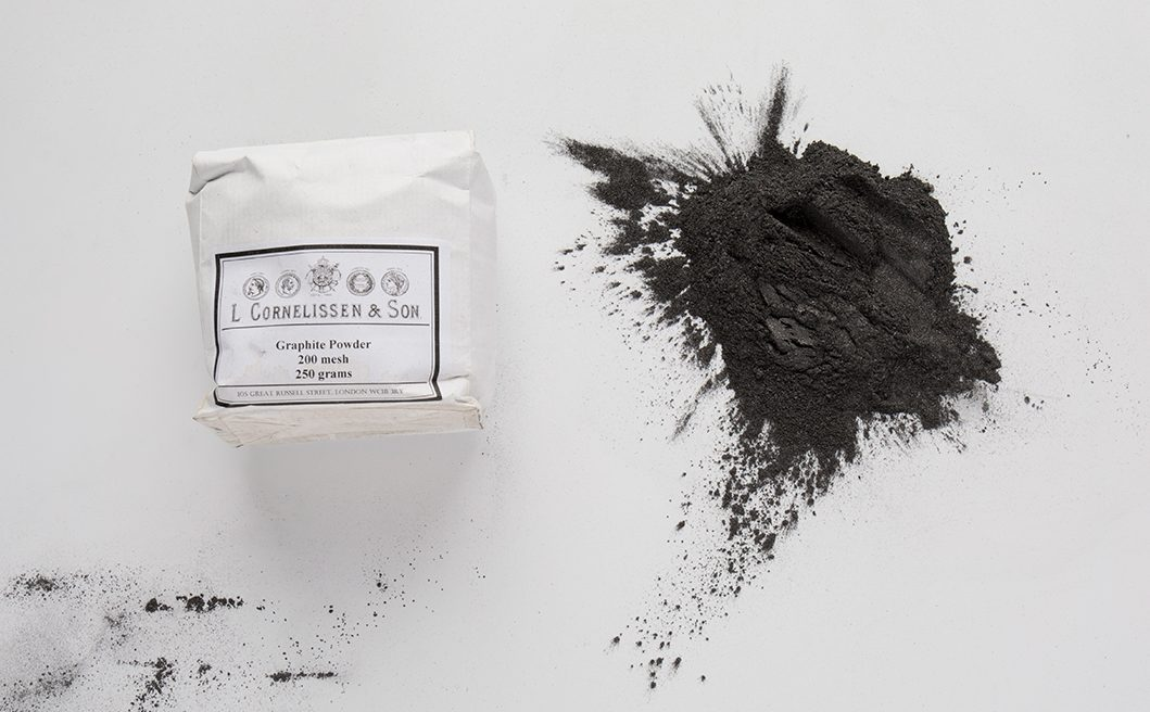 Graphite powder available at Jackson's explaining the difference between graphite and charcoal