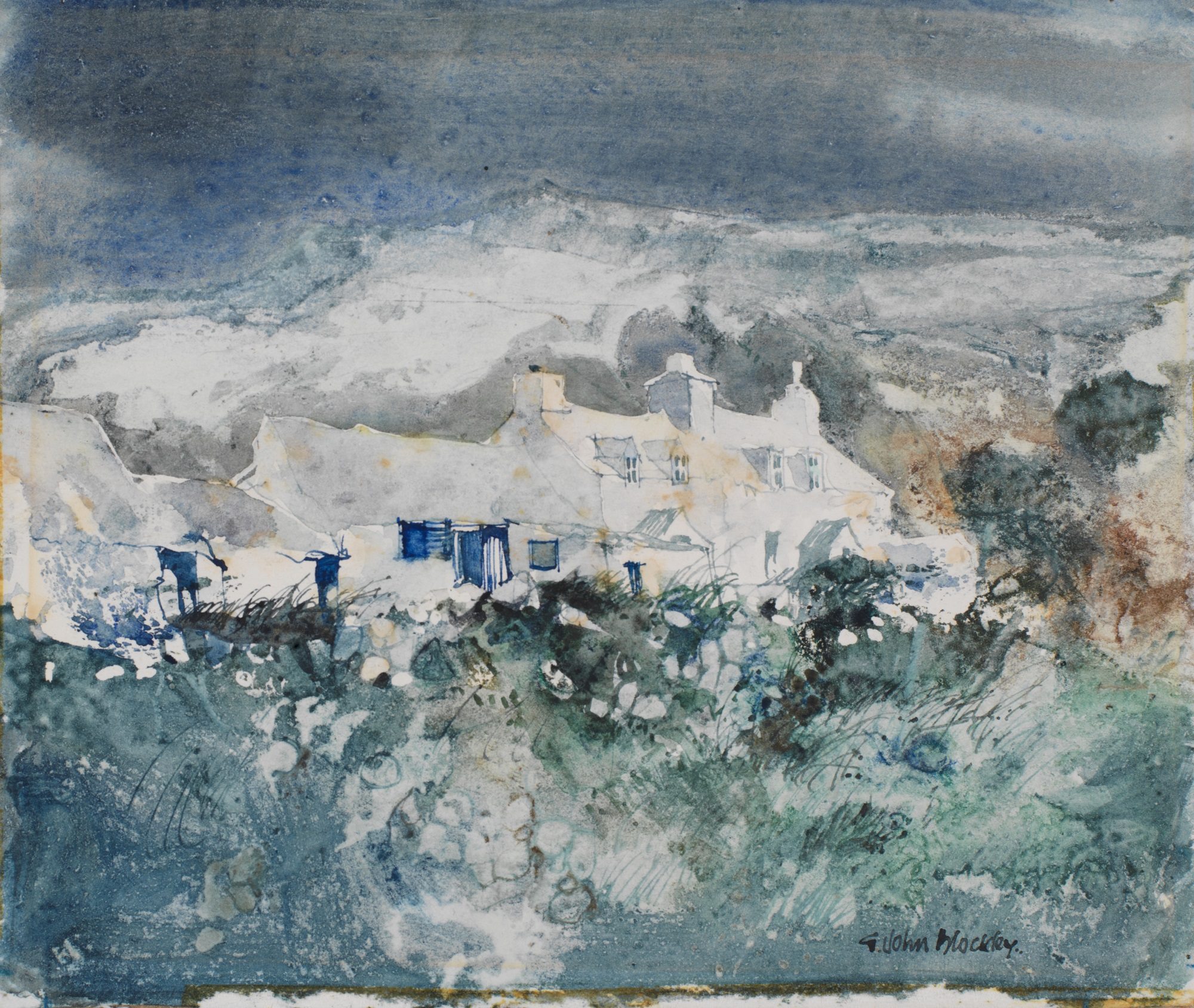 Pembrokeshire Cottages John Blockley Watercolour, c.1988, art exhibitions on in September