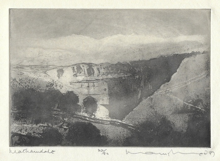 Norman Ackroyd, Malhamdale, Yorkshire, Etching, 1997, Plate 5 from the portfolio of ten etchings entitled '1997', printed entirely from copper plates by Neil Woodall in Yorkshire and Jason Hicklin in London. art exhibitions on in September