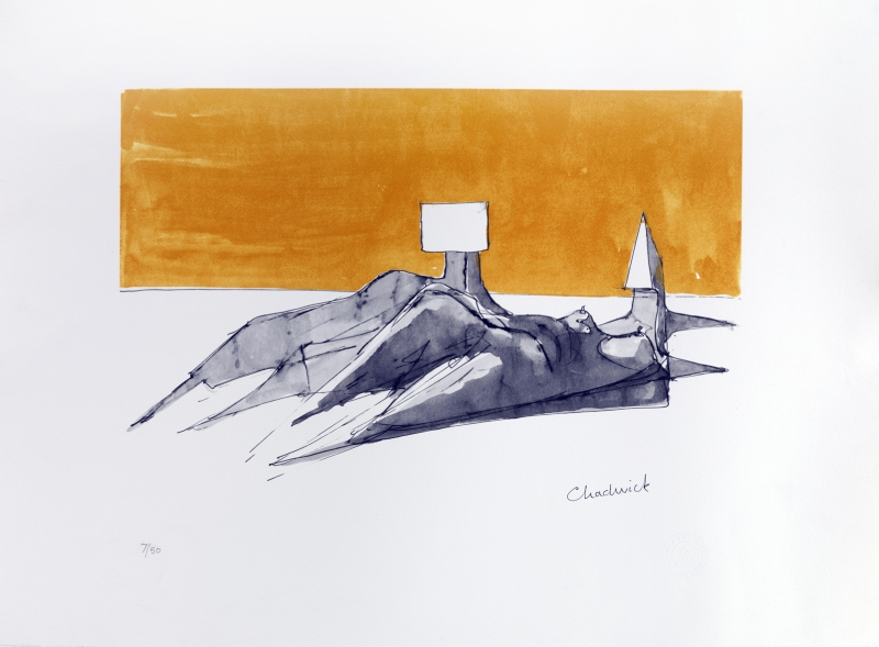 Lynn Chadwick, Reclining Couple, Lithograph,2003 series,Edition size: 50:One in a series of 6 lithographs published just prior to Chadwick's death in 2003, art exhibitions in August