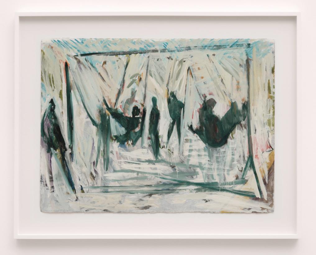 Tim Stoner, Park 2014, oil on paper, 56 x 76 cm, art exhibitions in August