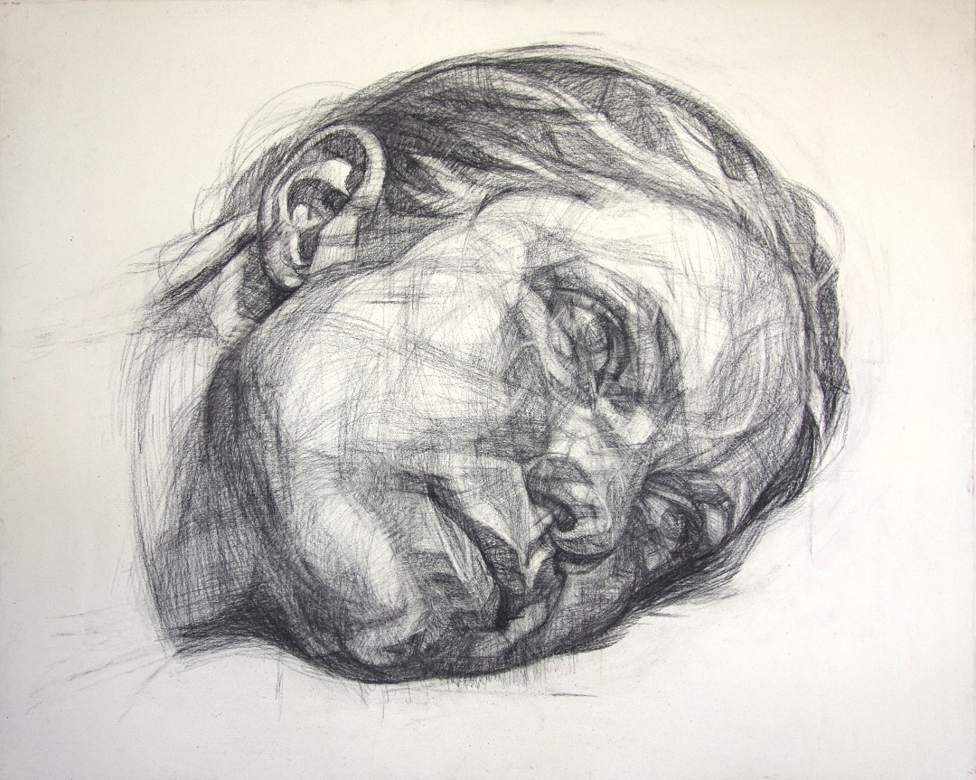 Toppled Head Gareth Reid Charcoal on Canvas, 111cm x 138cm, 2017