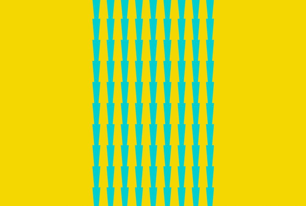 Tess Jaray, Thorns - Blue on Yellow, 2017, Screenprint, 32 x 47.5 cm, Edition of 25