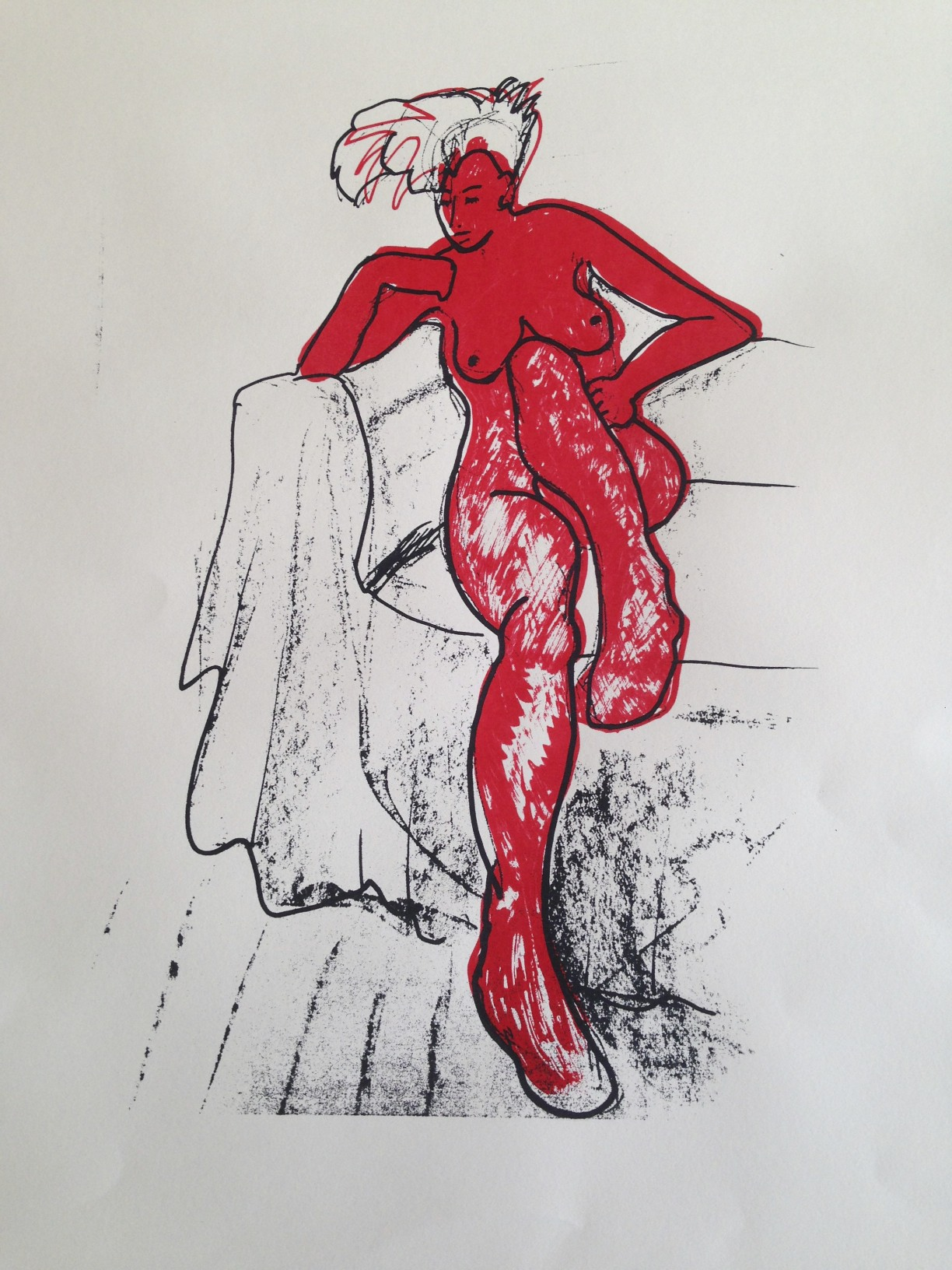 Wendy Bailey, Lady in Red Silk, Screen Print, art exhibitions in August