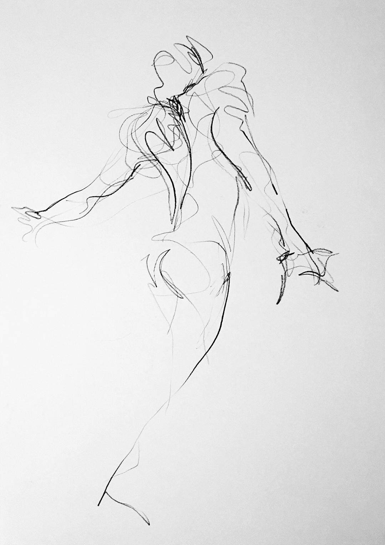 Figure in Movement #1 Jess Miller Carbon pencil, 55cm x 40cm,2018