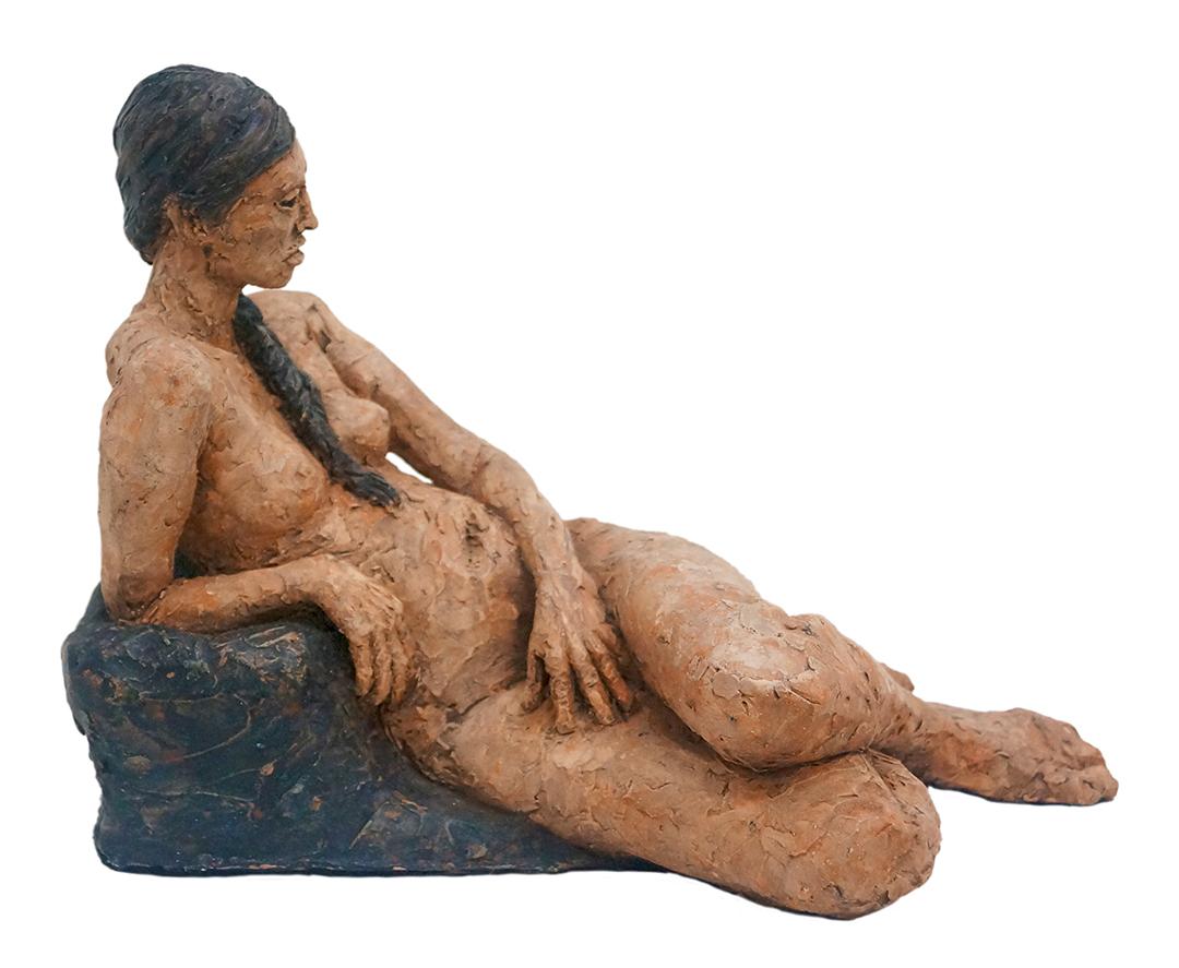 Reclining figure of Sara Jess Miller Fired clay sculpture,15 cm x 20 cm x 25 cm, 2017