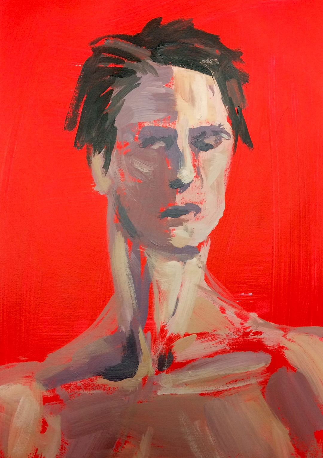 Red Jess Miller Acrylic on primed paper, 58cm x 44cm, 2016