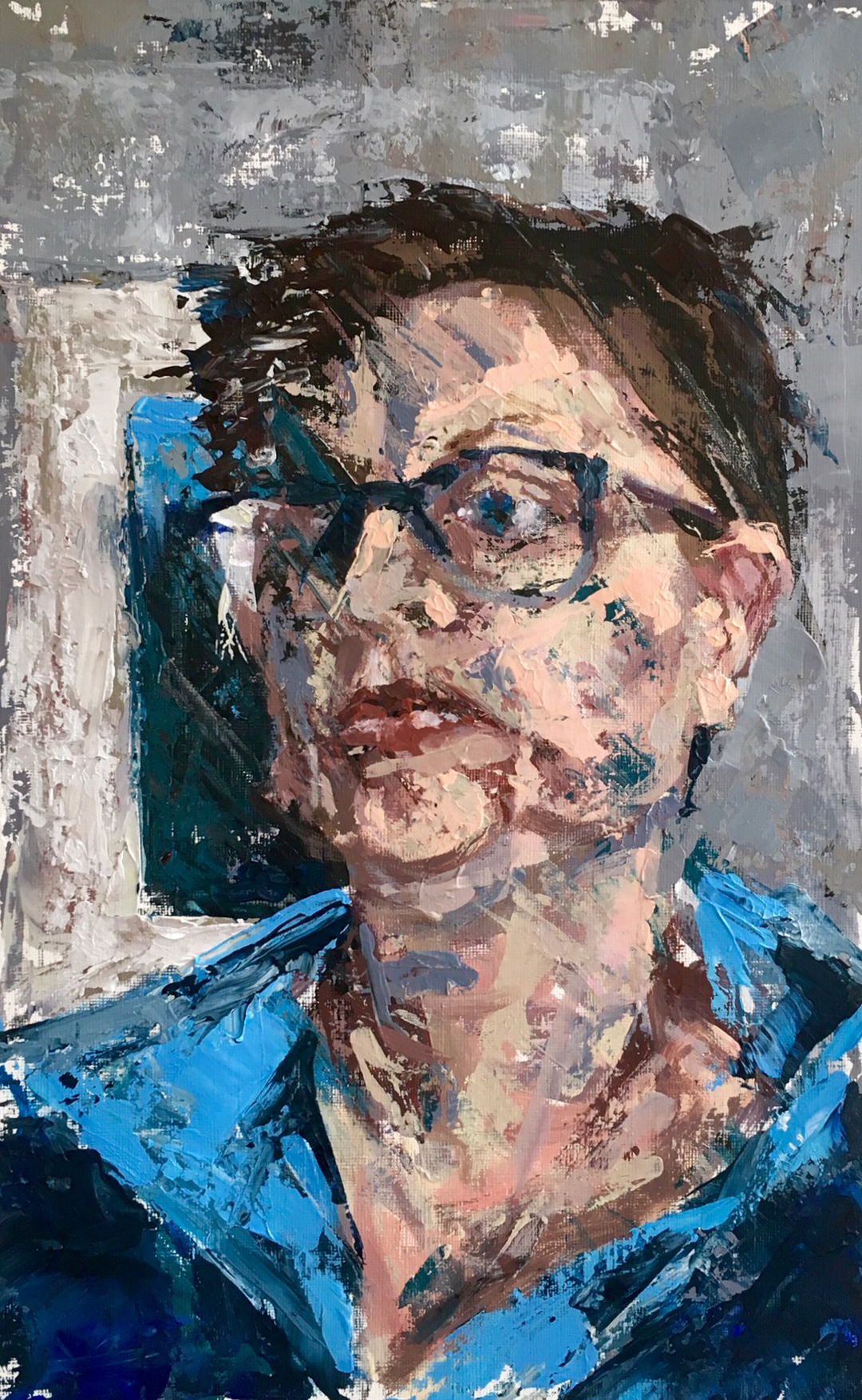 Self portrait Jess Miller Acrylic on primed paper, 40cm x 25cm, 2018