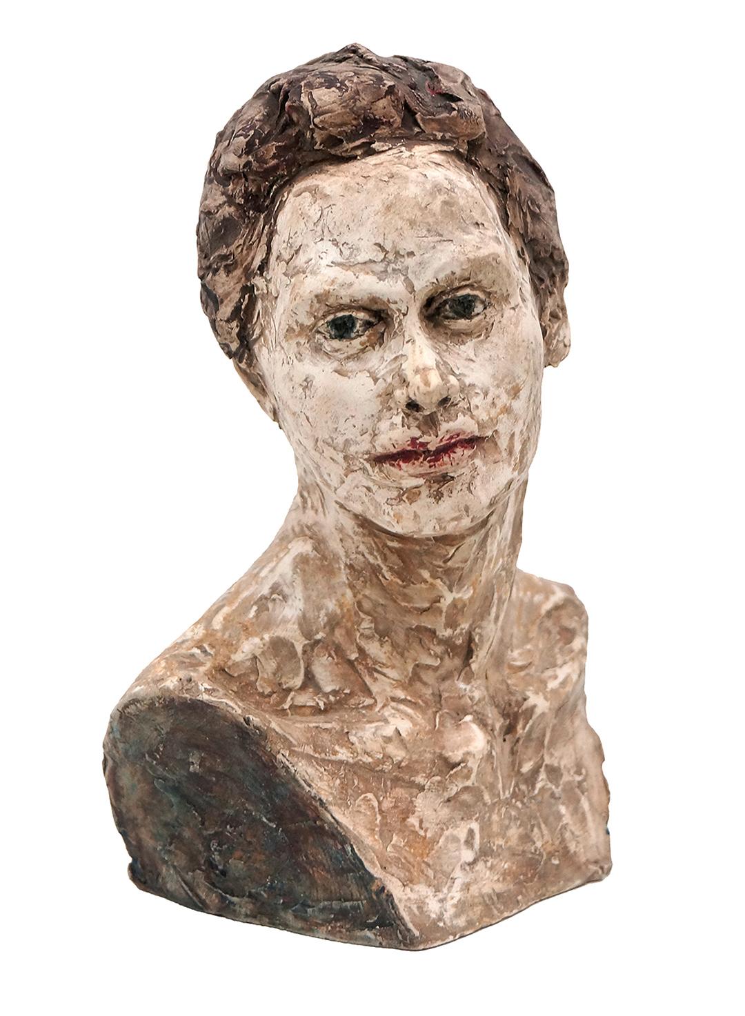 Small portrait of a girl Jess Miller Fired clay sculpture , 23cm x 16cm x 10cm, 2016