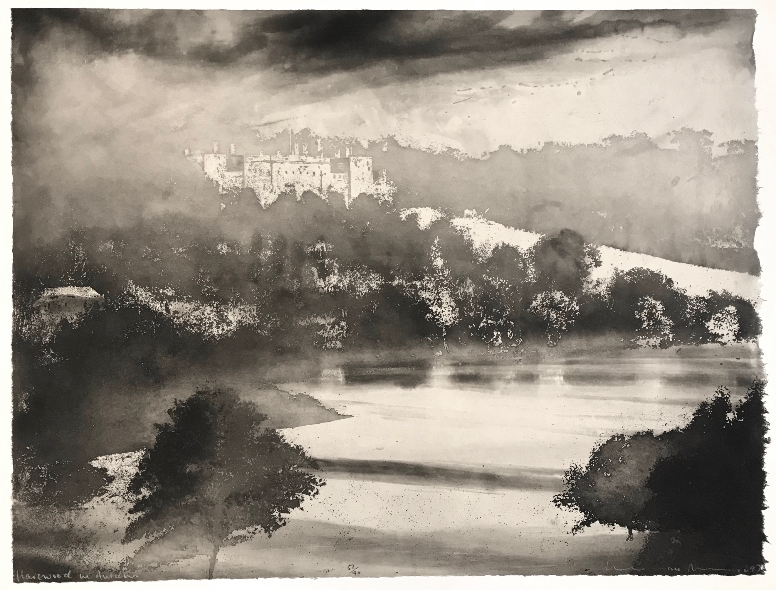 Harewood in Autumn Norman Ackroyd Etching, signed dated and titled in pencil. Numbered from the edition of 90, 1997