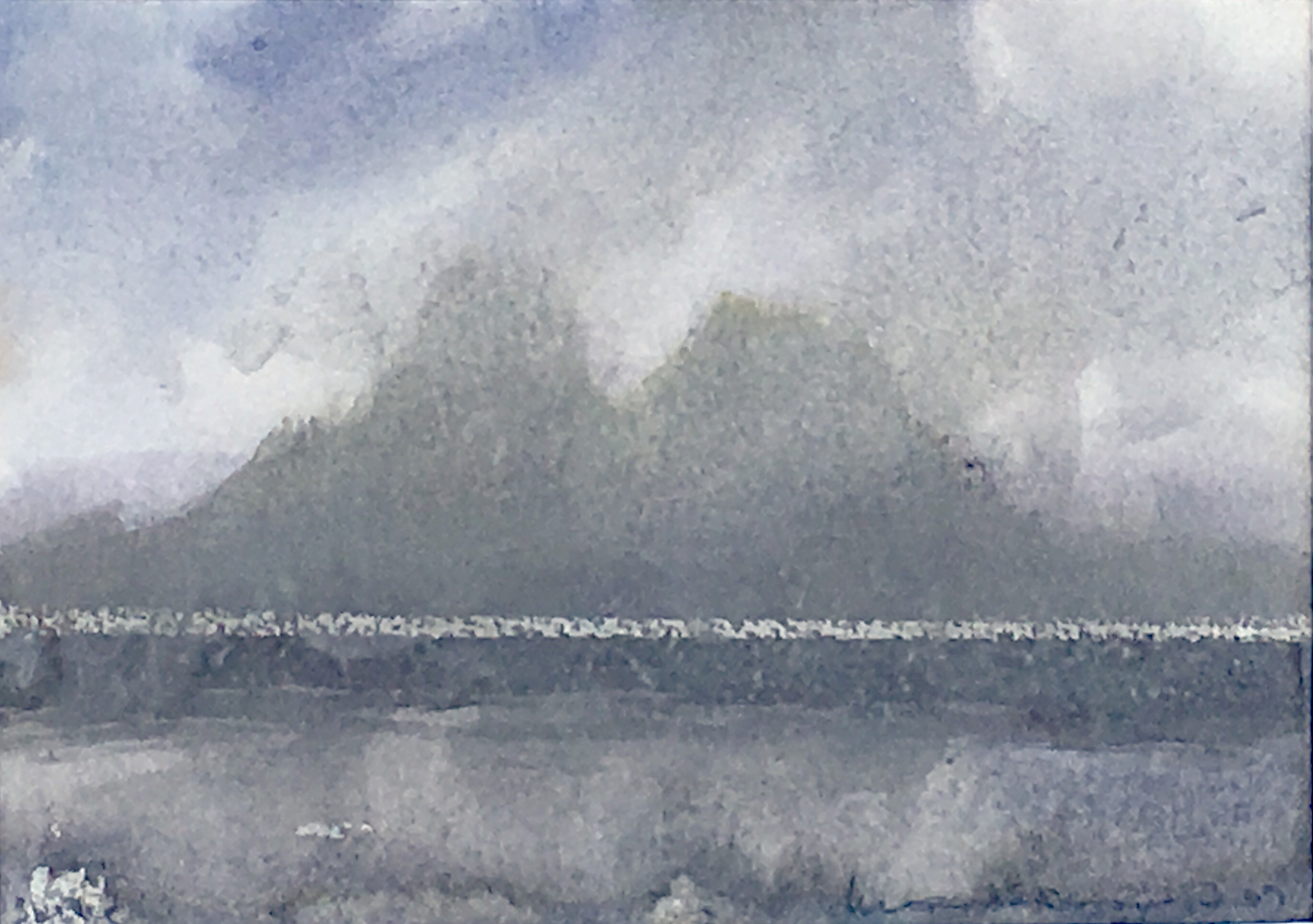 Skellig from the South Norman Ackroyd Watercolour, signed and dated in pencil to the front and back, 2007