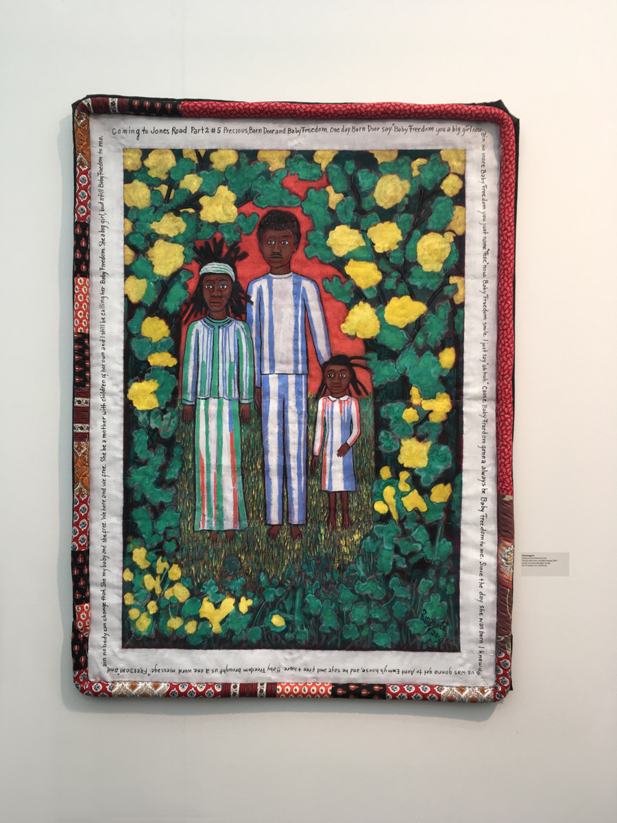 Faith Ringgold, Coming to Jones Road Part II #5, Precious, Barn Door and Baby Freedom, acrylic on canvas with fabric border, 2010