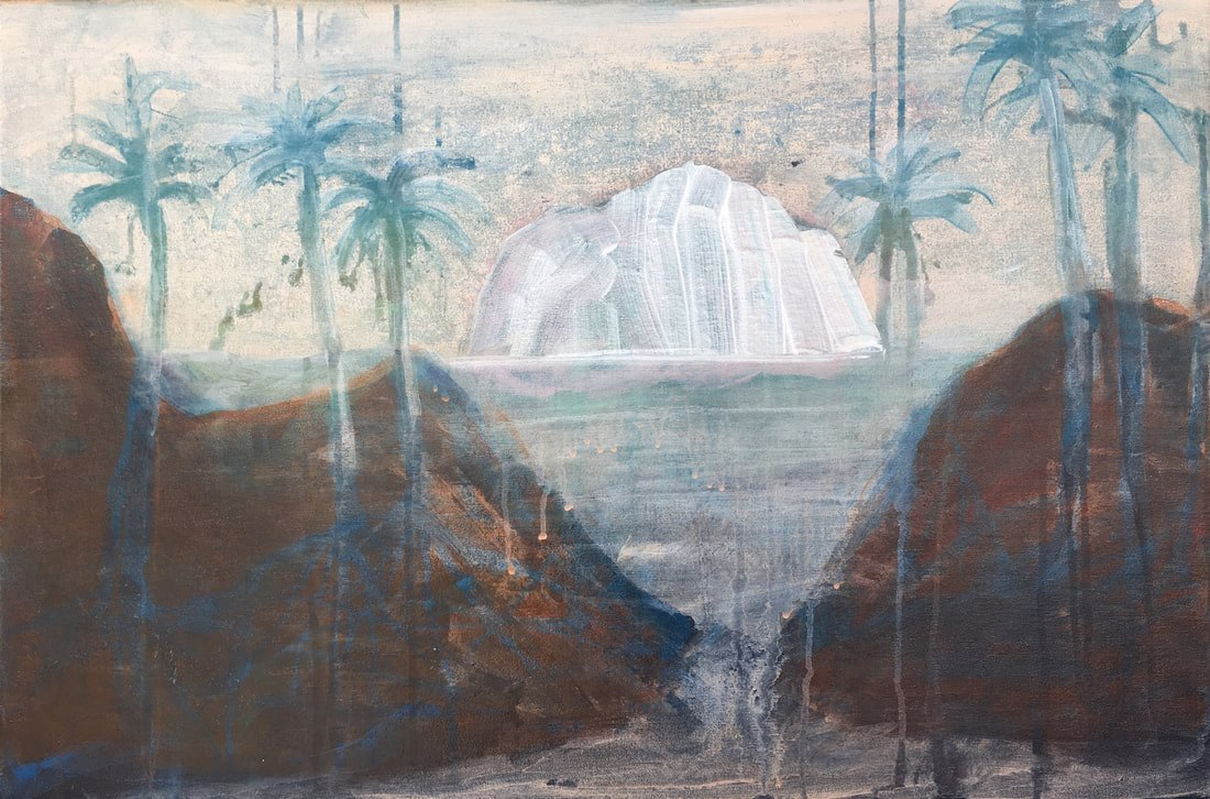 Hanneke van Ryswyk, The island passing, Acrylic on canvas, 51 x 76 cm, © Hanneke van Ryswyk 2018