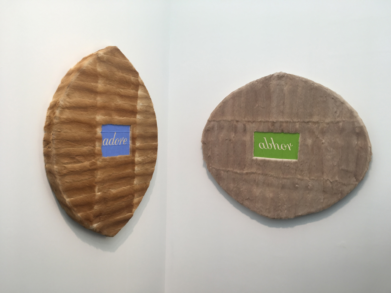 Helen Chadwick, Adore; Abhor, 1994,Oil on fur, plywood, MDF, on two panels,2 panels; 100 x 110 cm and 116 x 93 cm