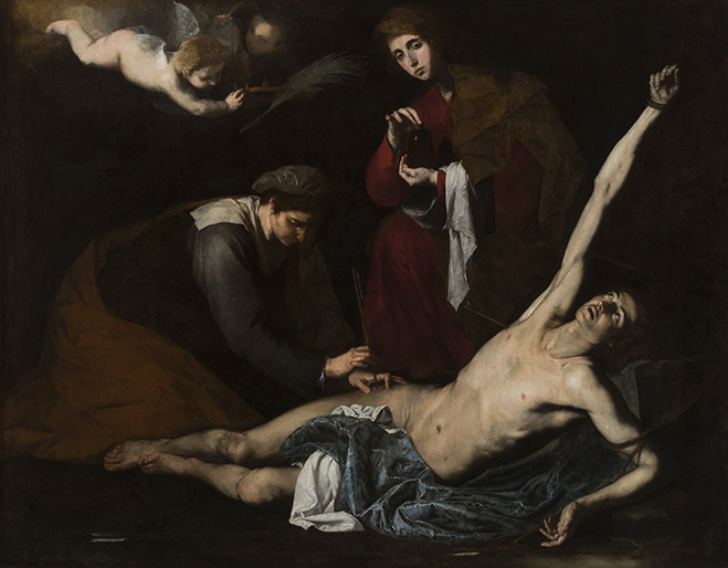 Jusepe de Ribera, St Sebastian Tended by the Holy Women, c.1621, Oil on canvas, (detail), 180.3 x 231.6cm, The Bilbao Fine Arts Museum. Photo: The Bilbao Fine Arts Museum. ©Bilboko Arte Ederren Museoa-Museo de Bellas Artes de Bilbao