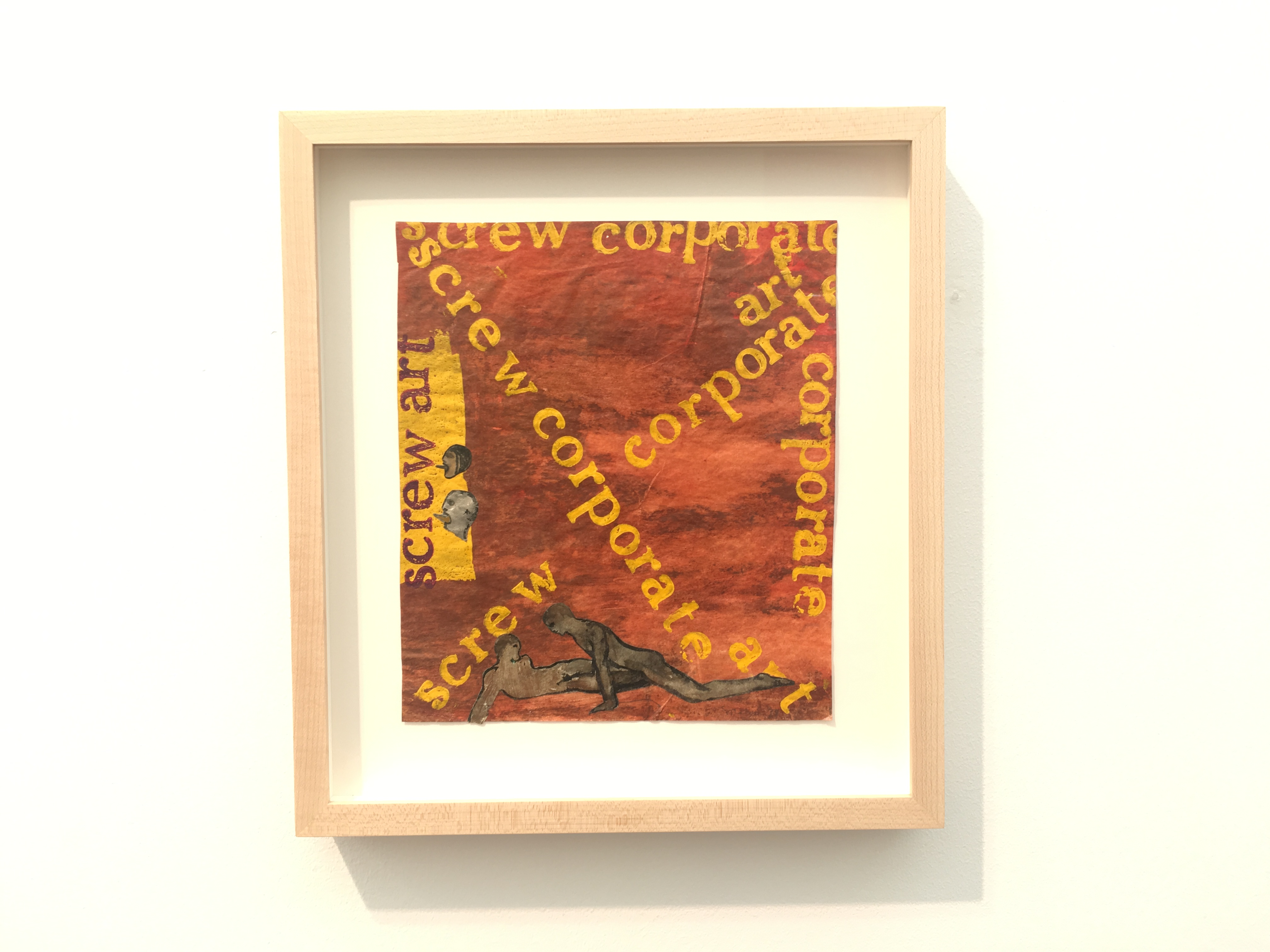 Nancy Spero, Screw Corporate Art, 1974, handprinting and gouache collage on paper, 9.5 x 8.5 inches, Galerie Lelong & Co