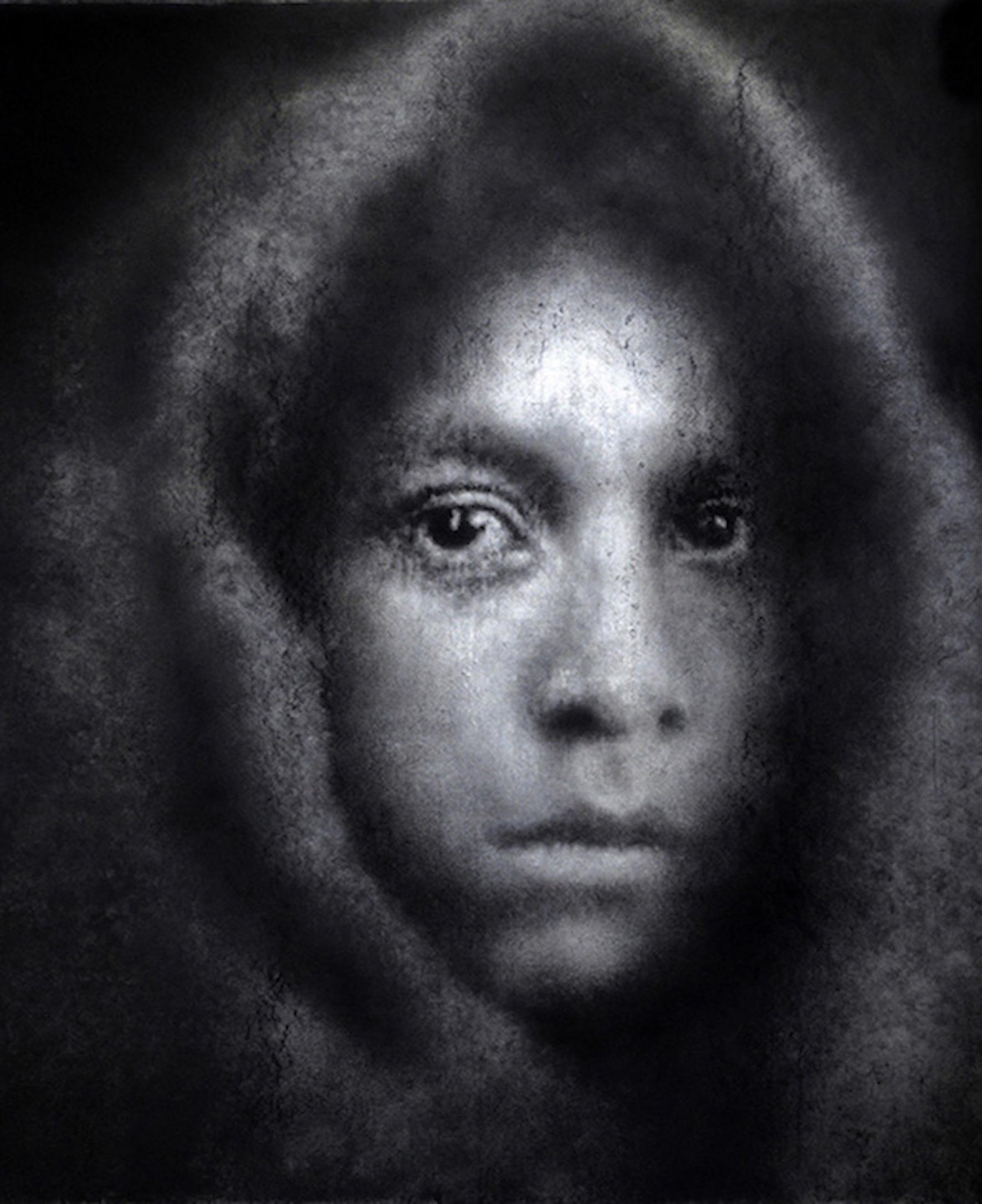 'Native American Girl, 19th Century' Caroline Burraway Charcoal, 150cm x 125cm