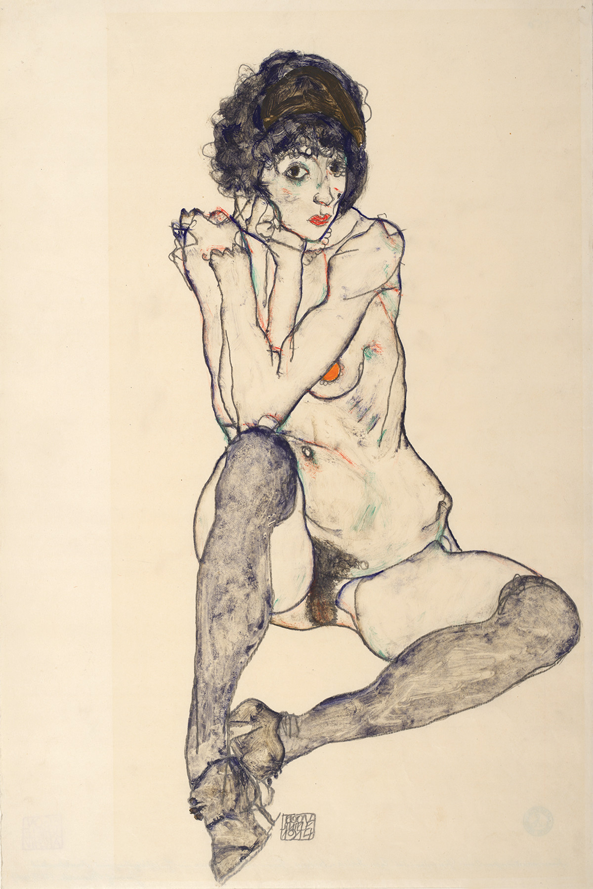 Egon Schiele, Seated Female Nude, Elbows Resting on Right Knee, 1914. Graphite and gouache on Japan paper. 48 x 32 cm. The Albertina Museum, Vienna. Exhibition organised by the Royal Academy of Arts, London and the Albertina Museum, Vienna