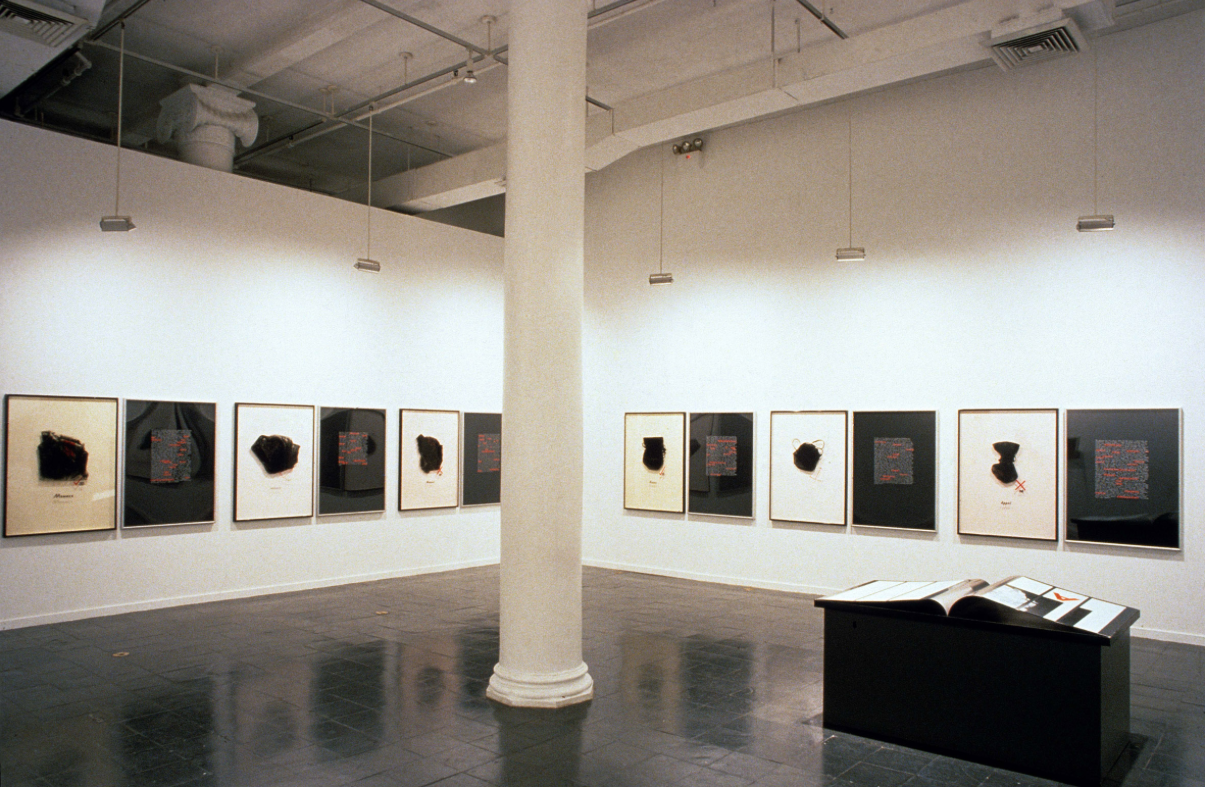 Installation view: Mary Kelly,  Interim, 1984-1989, solo exhibition,  New Museum of Contemporary Art, New York, 1990. photo:  Fred  Scruton