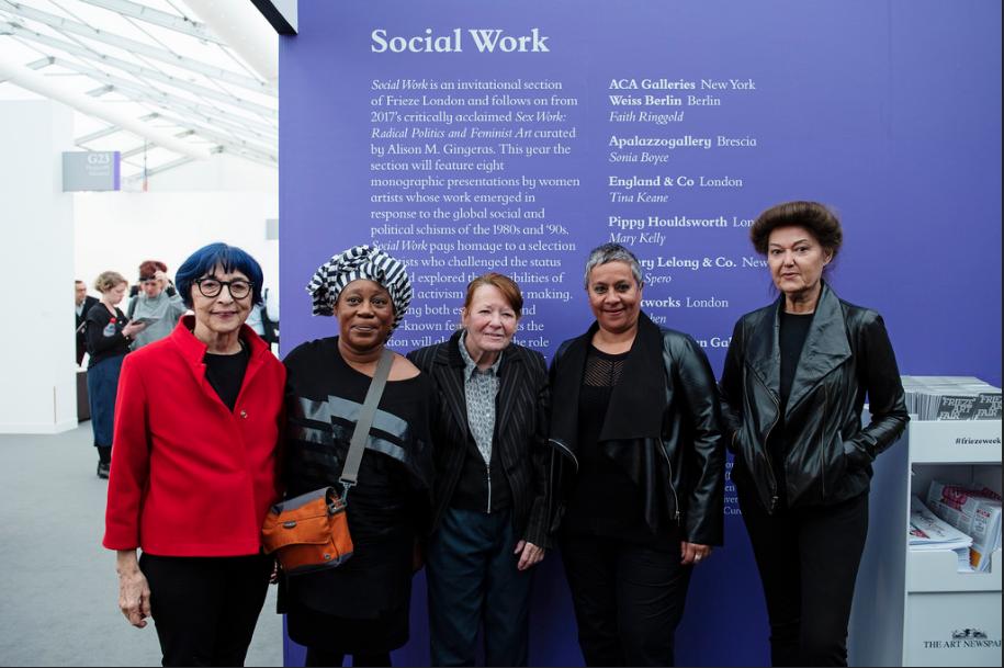 Ipek Duben, Sonia Boyce, Tina Keane, Berni Searle and Mary Kelly, Social Work, Frieze London 2018 Photo by Linda Nylind. Courtesy of Linda Nylind/Frieze.