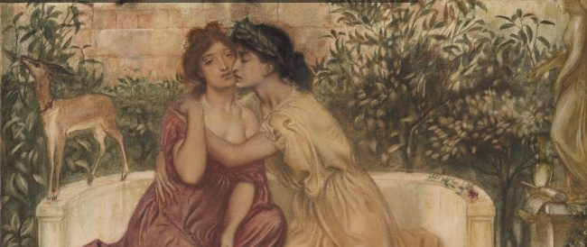 Simeon Solomon, Sappho and Erin in a Garden at Mytilene, 1864, (detail) copyright Tate, London 2018, art exhibitions on in October