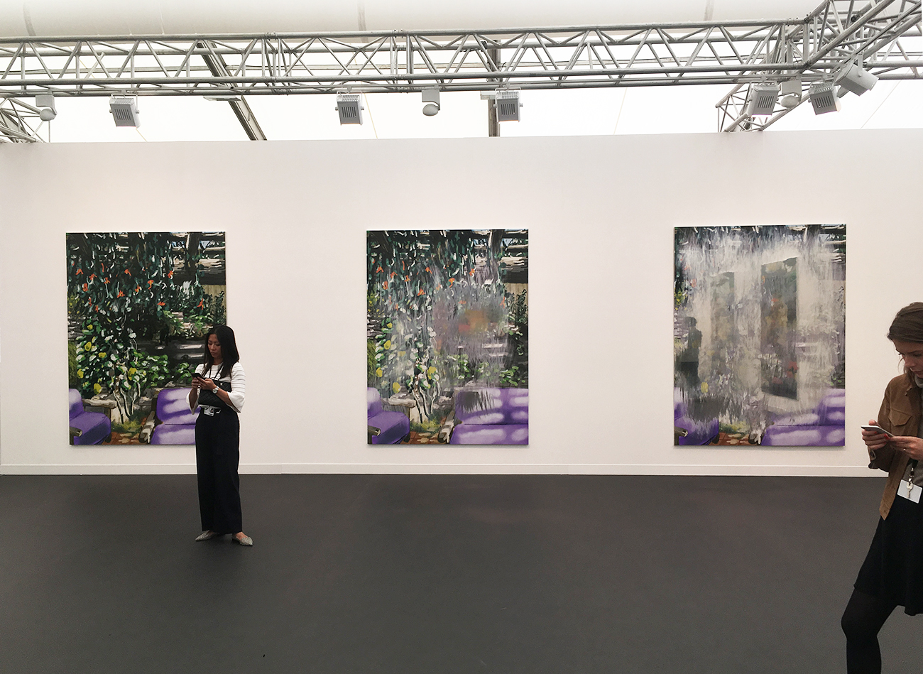Urs Fischer, large-scale triptychs made by hand using a digital substrate, then silkscreened onto aluminium panels, Gagosian