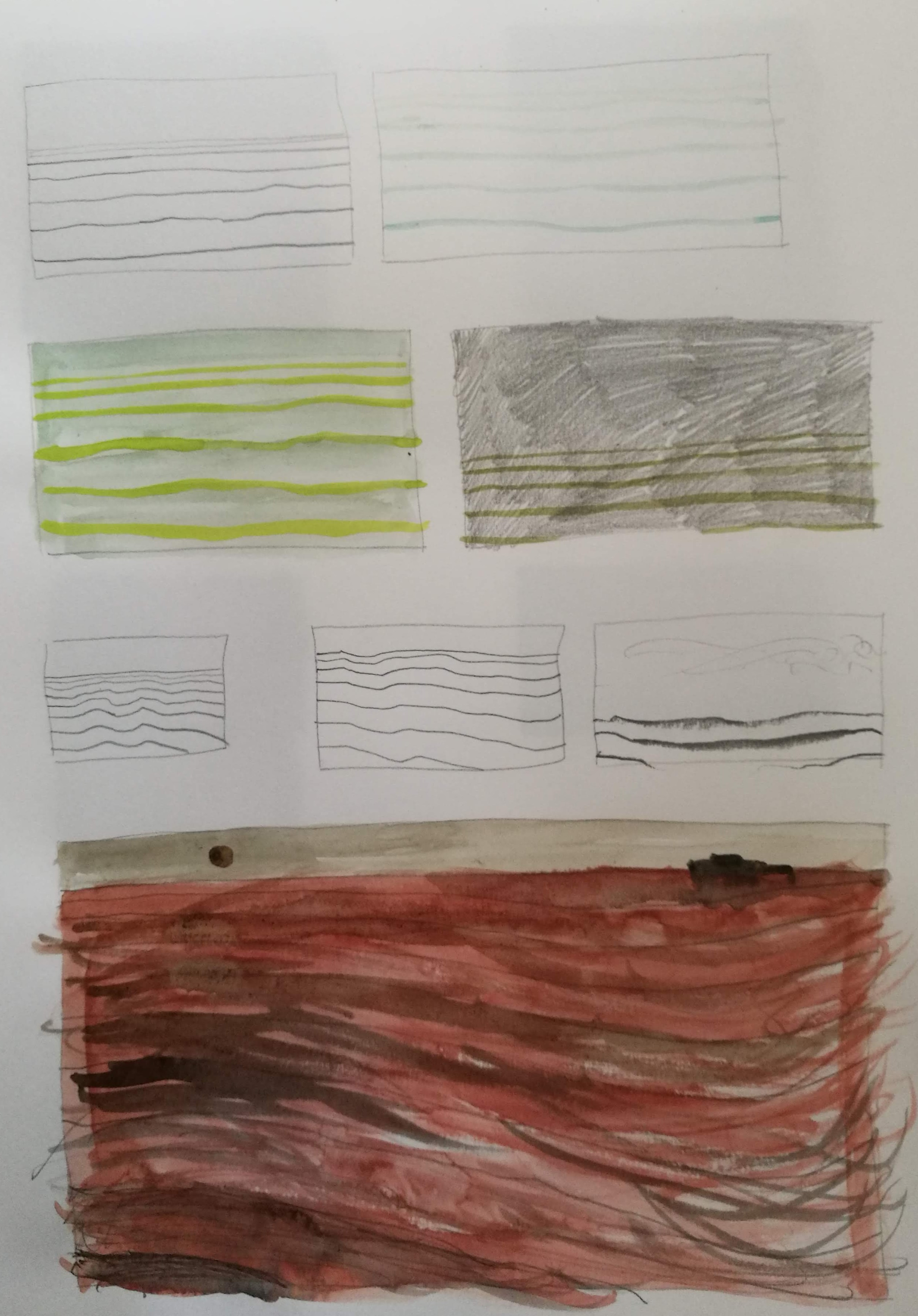 Lesson 1 'The Evocation of Memory': simple landscapes made using the simplest of drawn graphite lines. I then worked into these using watercolour and more graphite