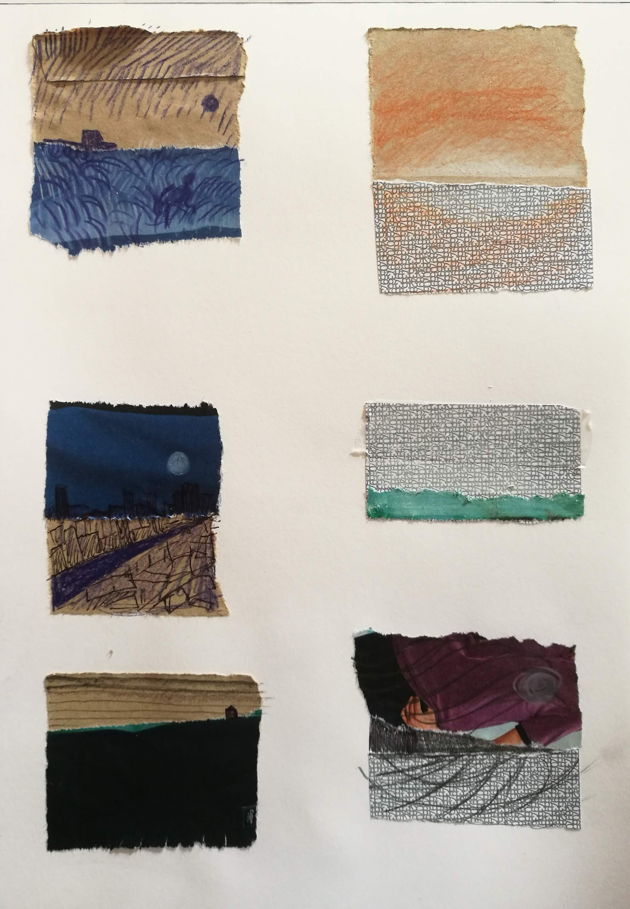 Following Lesson 1 in 'Drawing and Painting The Landscape' - mini collaged landscapes made by me. I worked into these using biro, coloured pencil and graphite. Not masterpieces but little kernels of ideas for possible future paintings.
