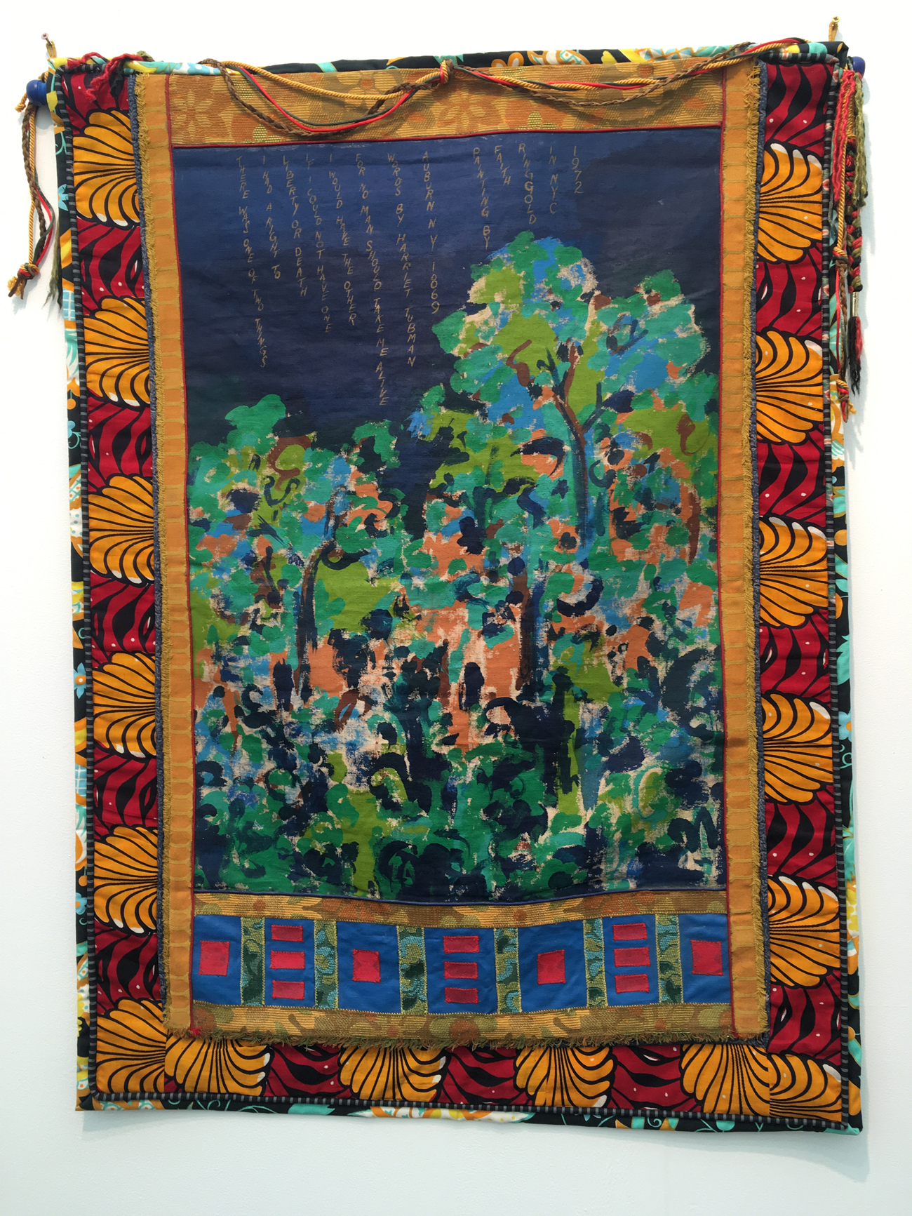 Faith Ringgold, Feminist Series: There Was One of Two Things, 1972, acrylic on canvas framed in cloth, 46 1/2 x 34 inches