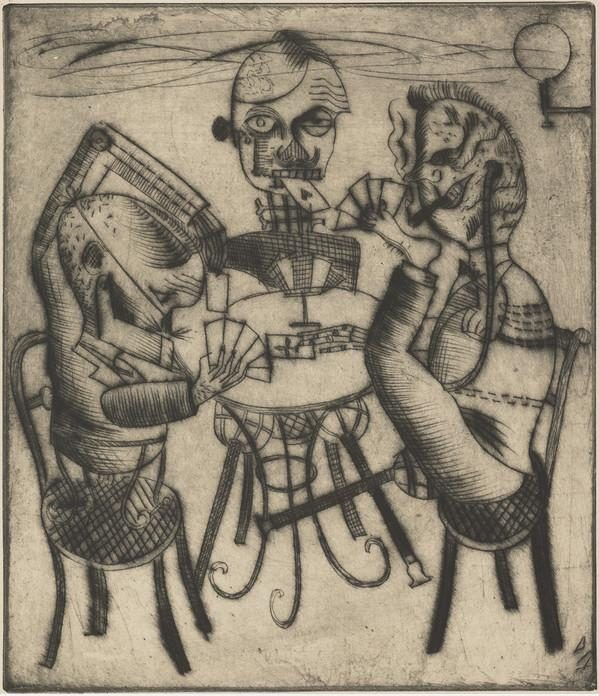 Otto DixGerman (1891 - 1969), Kartenspieler [Cardplayers], Drypoint on paper (4/11), 32.90 x 28.30 cm, © DACS 2018