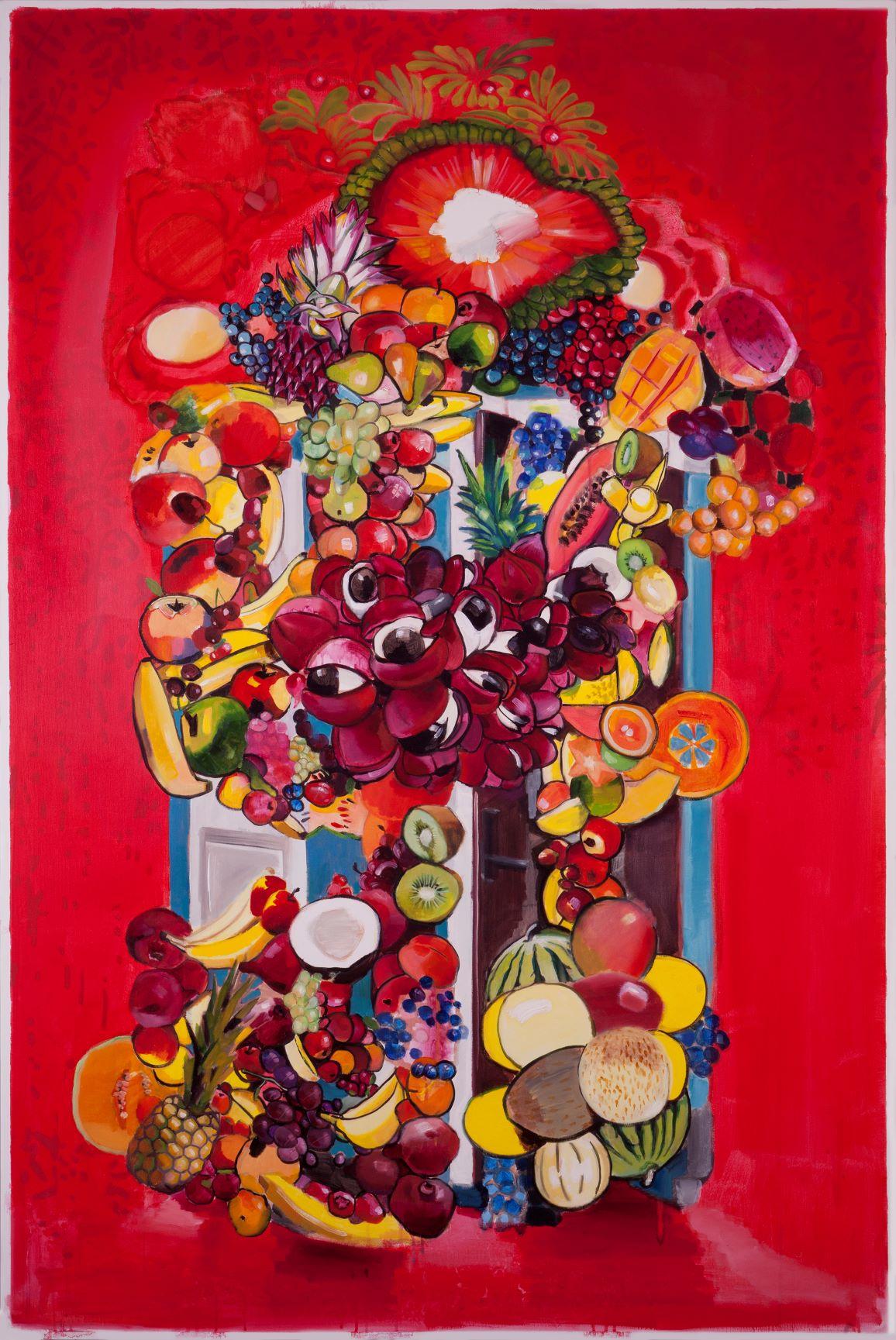 Fruitbox, 2018, Brush (Ambrus Gero), Oil on Canvas, 150 x 99 cm