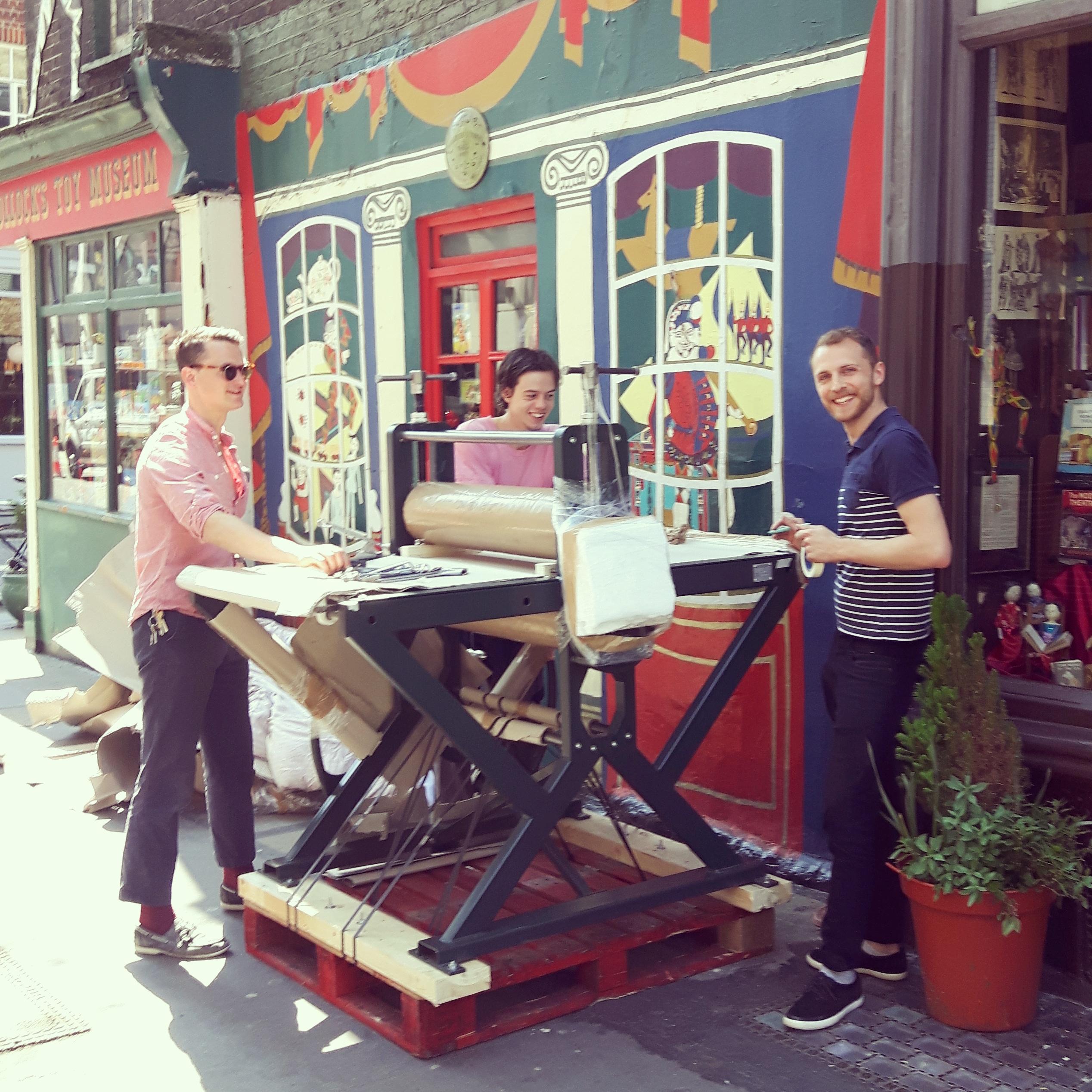 Jack Fawdry Tatham having a new printing press installed