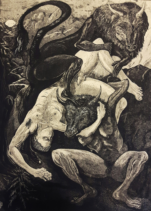 Beneath a Scar 1:25, Jack Fawdry-Tatham, etching with aquatint 40x60cm (Winner of the Jackson's Visitors' Choice Award at the National Original Print Exhibition 2018