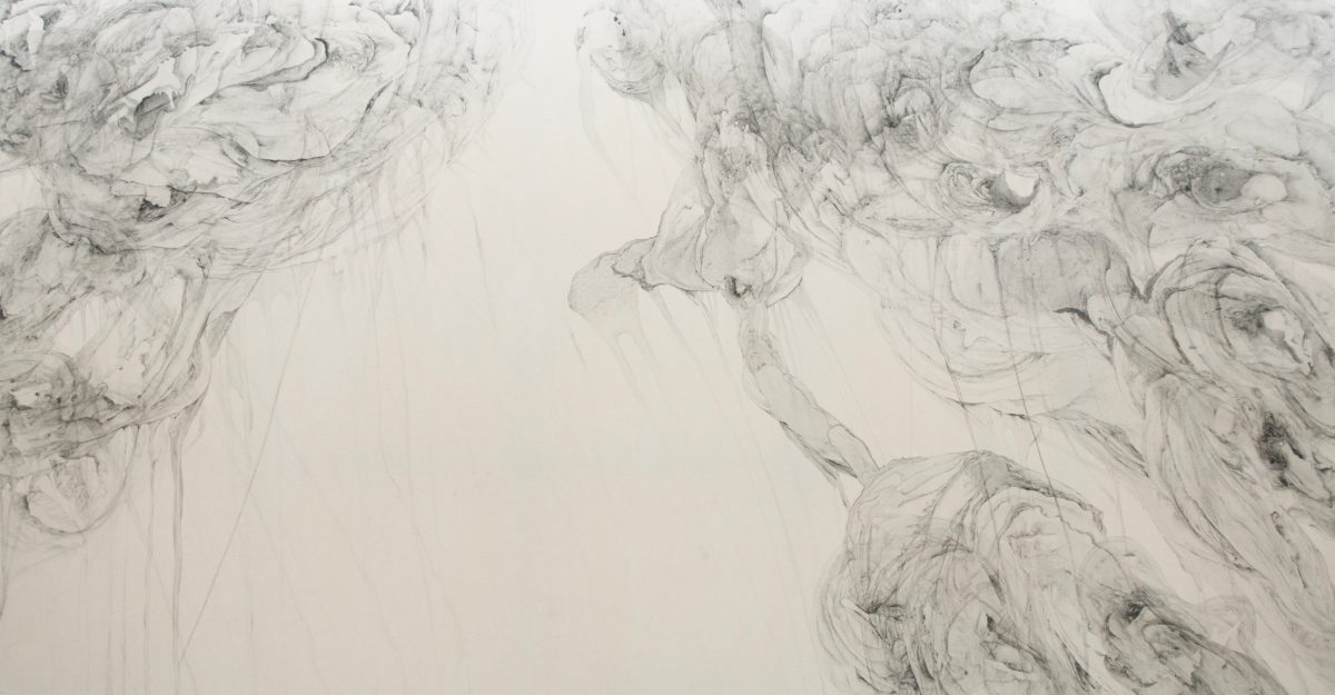 Untitled, 2016, Odilia Suanzes, Graphite, oil on canvas, 400 x 200 cm